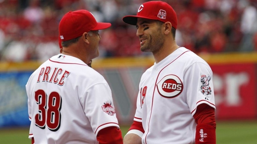 <p>Apr 6, 2015; Cincinnati, OH, USA; Cincinnati Reds manager Bryan Price (38) shakes hands with first baseman Joey Votto (19) during pre game ceremonies prior to the game against the Pittsburgh Pirates at Great American Ball Park. Mandatory Credit: <br> </p>