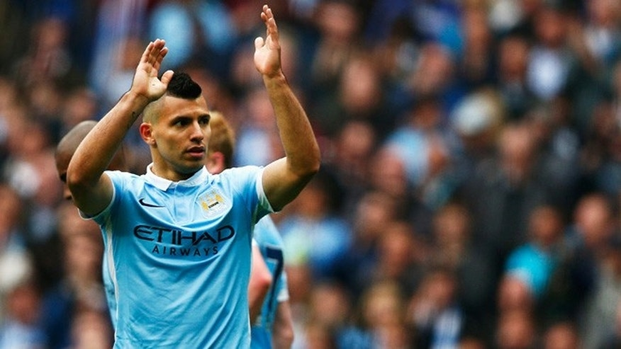 MANCHESTER, ENGLAND - OCTOBER 03:  Sergio Aguero of Manchester City celebrates scoring his fourth and team's fifth goal during the Barclays Premier League match between Manchester City and Newcastle United at Etihad Stadium on October 3, 2015 in Manchester, United Kingdom.  (Photo by Dean Mouhtaropoulos/Getty Images)