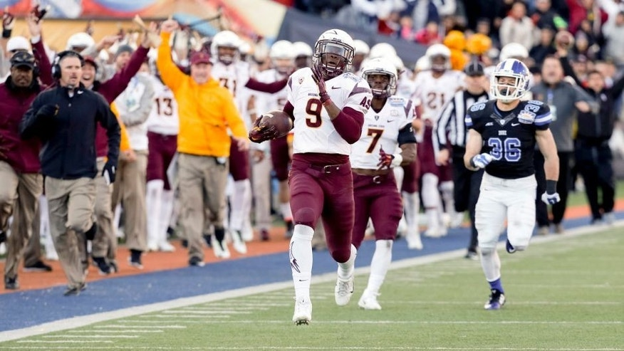 Dec 27, 2014; El Paso, TX, USA; Arizona State Sun Devils running back Kalen Ballage (9) returns a 96 yard kickoff against the Duke Blue Devils in the 2014 Sun Bowl at Sun Bowl Stadium. Mandatory Credit: Ivan Pierre Aguirre-USA TODAY Sports