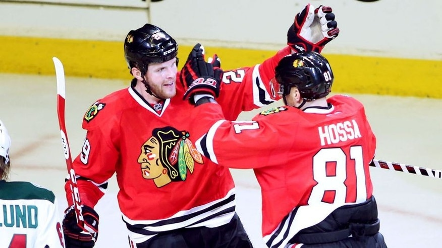 May 4, 2014; Chicago, IL, USA; Chicago Blackhawks left wing Bryan Bickell (29) celebrates with right wing Marian Hossa (81) after scoring a goal against the Minnesota Wild during the third period in game two of the second round of the 2014 Stanley Cup Playoffs at United Center. Mandatory Credit: Jerry Lai-USA TODAY Sports