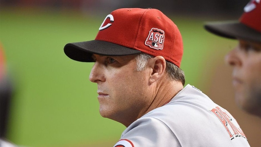 PHOENIX, AZ - AUGUST 09: Manager Bryan Price #38 of the Cincinnati Reds looks on from the bench against the Arizona Diamondbacks at Chase Field on August 9, 2015 in Phoenix, Arizona. (Photo by Norm Hall/Getty Images)