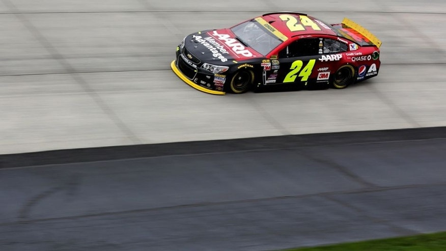 DOVER, DE - OCTOBER 03: Jeff Gordon, driver of the #24 AARP Member Advantages Chevrolet, practices for the NASCAR Sprint Cup Series AAA 400 at Dover International Speedway on October 3, 2015 in Dover, Delaware. (Photo by Jerry Markland/Getty Images)