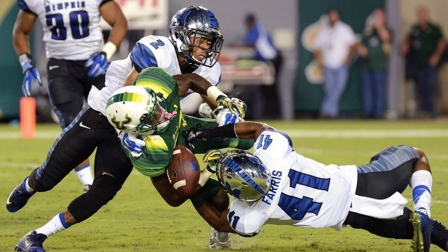 Oct 2, 2015; Tampa, FL, USA; South Florida Bulls wide receiver Rodney Adams (87) runs with the ball during the second half against the Memphis Tigers at Raymond James Stadium. The Memphis Tigers defeated the South Florida Bulls 24-17. Mandatory Credit: Jonathan Dyer-USA TODAY Sports