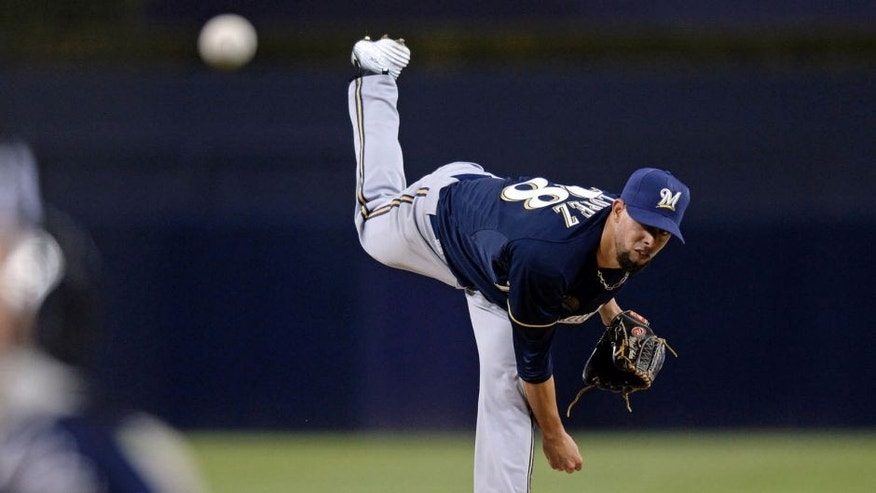 Milwaukee Brewers starting pitcher Jorge Lopez pitches during the first inning of his major league debut against the San Diego Padres at Petco Park on Tuesday, Sept. 29, 2015.