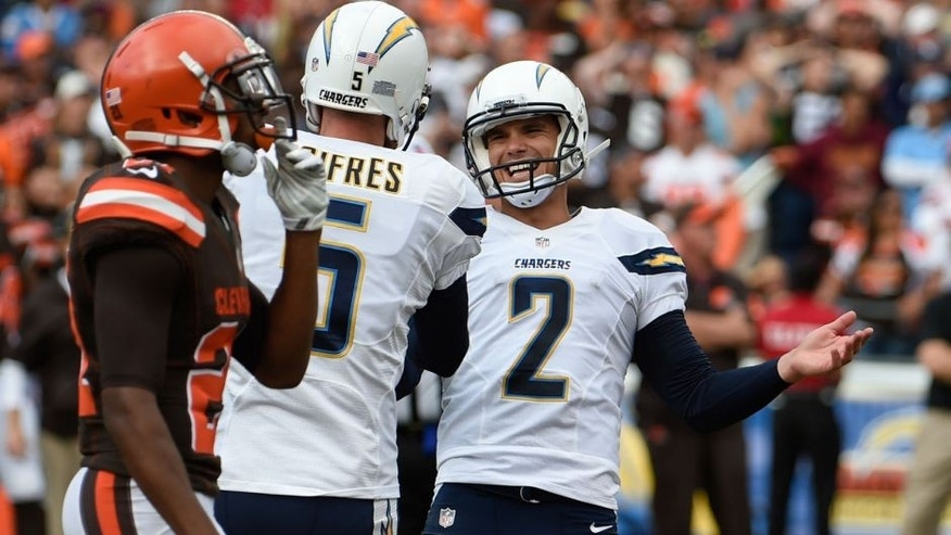 San Diego Chargers kicker Josh Lambo (2) celebrates his NFL football game-winning field goal against the Cleveland Browns during the second half Sunday, Oct. 4, 2015, in San Diego. (AP Photo/Denis Poroy)