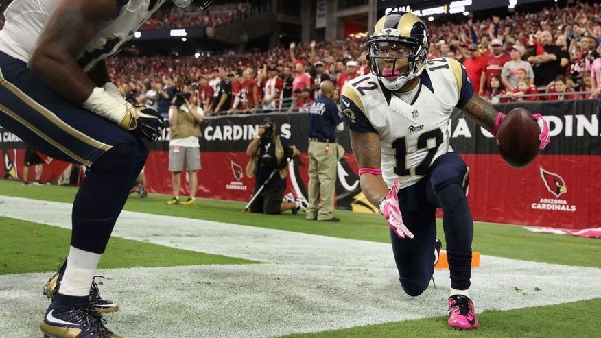 GLENDALE, AZ - OCTOBER 04: Wide receiver Stedman Bailey #12 of the St. Louis Rams (right) celebrates his third quarter touchdown with wide receiver Kenny Britt #18 (left) during the NFL game against the Arizona Cardinals at the University of Phoenix Stadium on October 4, 2015 in Glendale, Arizona. (Photo by Christian Petersen/Getty Images)