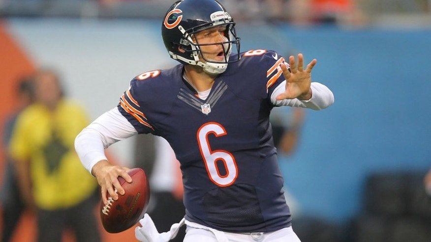 Aug 8, 2014; Chicago, IL, USA; Chicago Bears quarterback Jay Cutler (6) throws a pass during the first quarter of a preseason game against the Philadelphia Eagles at Soldier Field. Mandatory Credit: Dennis Wierzbicki-USA TODAY Sports