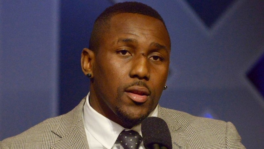 Jan 30, 2015; Phoenix, AZ, USA; Carolina Panthers linebacker Thomas Davis speaks during the Walter Payton man of the year press conference at the Phoenix Convention Center. Mandatory Credit: Kirby Lee-USA TODAY Sports