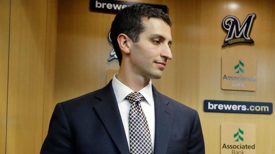 <p>David Stearns talks to Milwaukee Brewers owner Mark Attanasio a news conference Monday, Sept. 21, 2015, in Milwaukee. Stearns was introduced as the Brewers' new general manager. (AP Photo/Morry Gash)</p>