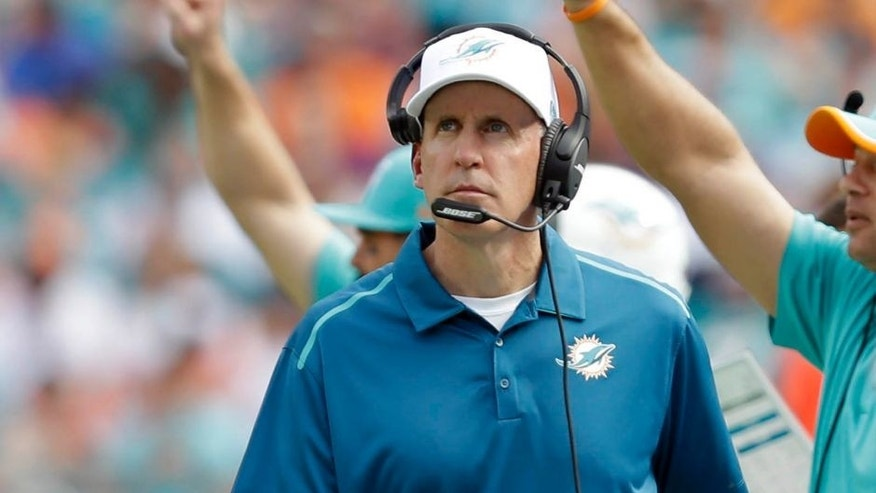 Miami Dolphins head coach Joe Philbin looks up at a play during the first half against the Minnesota Vikings.