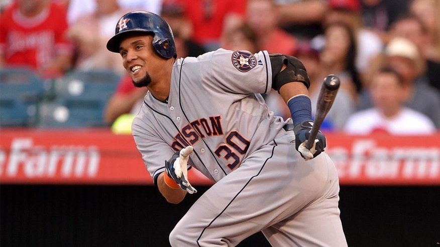 ANAHEIM, CA - SEPTEMBER 12: Carlos Gomez #30 of the Houston Astros runs during the first inning of the game against the Los Angeles Angels of Anaheim at Angel Stadium of Anaheim on September 12, 2015 in Anaheim, California. (Photo by Matt Brown/Angels Baseball LP/Getty Images)