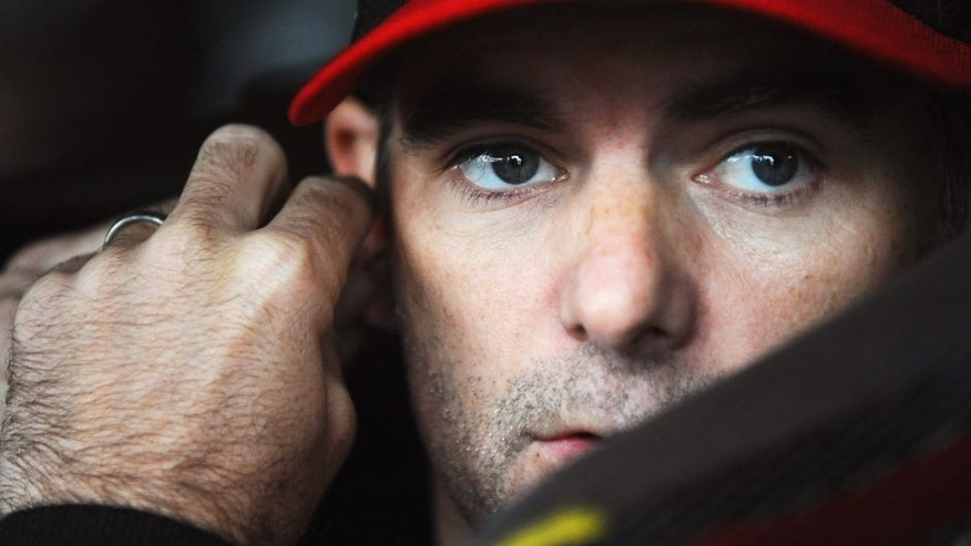 Jeff Gordon, driver of the #24 AARP Member Advantages Chevrolet, sits in his car during practice for the NASCAR Sprint Cup Series AAA 400 at Dover International Speedway on October 3, 2015 in Dover, Delaware. (Photo by Rainier Ehrhardt/NASCAR via Getty Images)