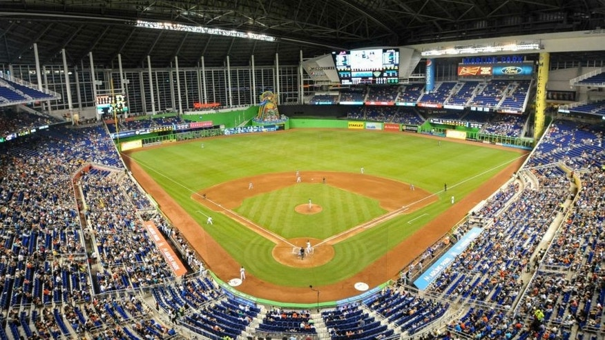 <p>Sep 4, 2015; Miami, FL, USA; A general view of Marlins Park during the fourth inning of a game between the New York Mets and the Miami Marlins. Mandatory Credit: Steve Mitchell-USA TODAY Sports</p>