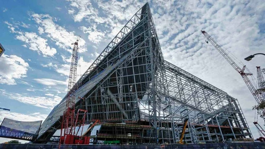 US Bank Stadium, the new stadium for the Minnesota Vikings, was topped off with its highest beam this week. The Vikings played the Detroit Lions at TCF Bank Stadium in Minneapolis on Sunday, Sept. 20, 2015.