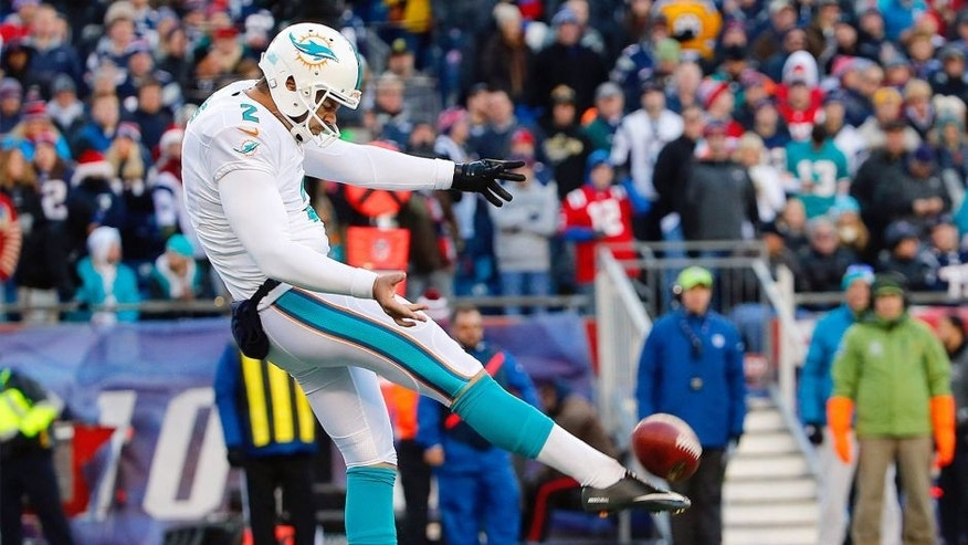 Dec 14, 2014; Foxborough, MA, USA; Miami Dolphins punter Brandon Fields (2) during the second half of the New England Patriots 41-13 win over the Miami Dolphins at Gillette Stadium. Mandatory Credit: Winslow Townson-USA TODAY Sports