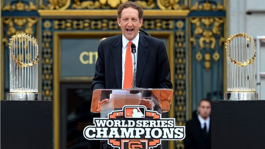 SAN FRANCISCO, CA - OCTOBER 31: San Francisco Giants President and CEO Larry Baer speaks to the San Francisco Giants fans during the Giants' victory parade and celebration on October 31, 2012 in San Francisco, California. The Giants celebrated their 2012 World Series victory over the Detroit Tigers. (Photo by Thearon W. Henderson/Getty Images)