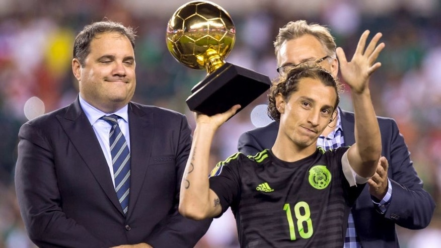 Photo during the celebration after the match Jamaica vs Mexico, corresponding great Final of the CONCACAF Gold Cup 2015 at Lincoln Financial Field Stadium, Philadelphia, Pennsylvania, in the photo: Andres Guardado Golden Ball Foto durante el festejo despues del partido Jamaica vs Mexico, Correspondiente a la Gran Final de la Copa Oro de la CONCACAF 2015 en el Estadio Lincoln Financial Field, Filadelfia, Pensilvania, en la foto: Andres Guardado Balon de Oro 26/07/2015/MEXSPORT/Emiliano.