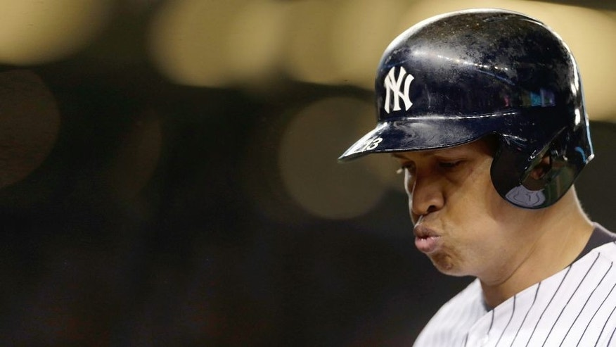 "<p style=""font-family: tahoma, arial, helvetica, sans-serif; font-size: 12px;"">Oct 6, 2015; Bronx, NY, USA; New York Yankees designated hitter Alex Rodriguez (13) reacts after lining out against the Houston Astros during the fourth inning in the American League Wild Card playoff baseball game at Yankee Stadium. Mandatory Credit: Adam Hunger-USA TODAY Sports</p>"
