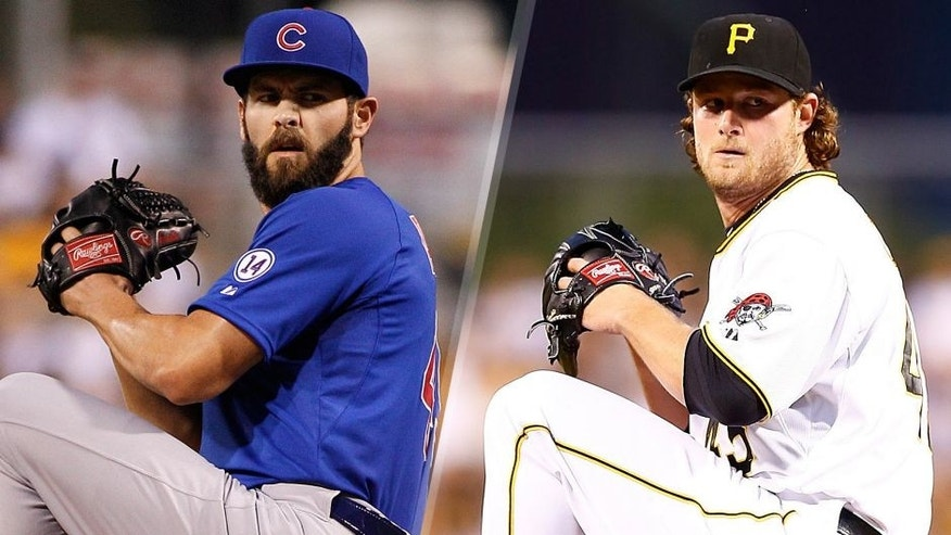 Jake Arrieta #49 of the Chicago Cubs in action during the game against the Pittsburgh Pirates at PNC Park on September 16, 2015 in Pittsburgh, Pennsylvania. (Photo by Justin K. Aller/Getty Images) Gerrit Cole #45 of the Pittsburgh Pirates pitches against the Los Angeles Dodgers at PNC Park on August 7, 2015 in Pittsburgh, Pennsylvania. (Photo by Jared Wickerham/Getty Images)