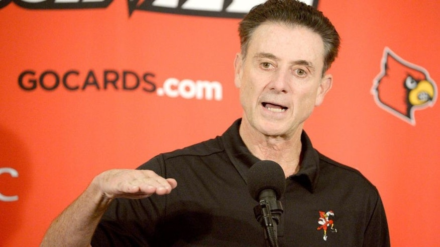 Oct 3, 2015; Louisville, KY, USA; Louisville Cardinals head coach Rick Pitino talks to the media following a scrimmage at KFC YUM! Center. Mandatory Credit: Jamie Rhodes-USA TODAY Sports