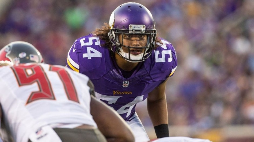 <p>Aug 15, 2015; Minneapolis, MN, USA; Minnesota Vikings linebacker Eric Kendricks (54) looks on during the second quarter in a preseason NFL football game against the Tampa Bay Buccaneers at TCF Bank Stadium. Mandatory Credit: Brace Hemmelgarn-USA TODAY Sports</p>