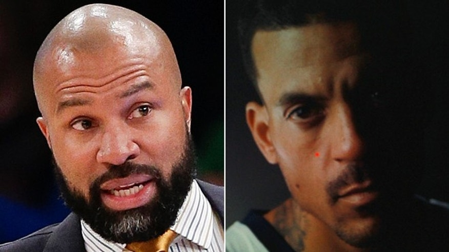 Knicks coach Derek Fisher, left, got into an altercation with Grizzlies forward Matt Barnes according to a report.