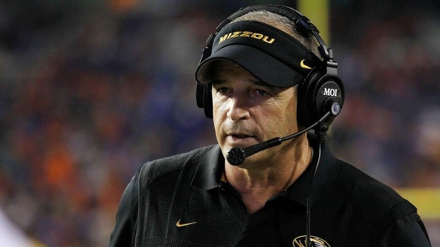 Oct 18, 2014; Gainesville, FL, USA; Missouri Tigers head coach Gary Pinkel during the second half against the Florida Gators at Ben Hill Griffin Stadium. Missouri Tigers defeated the Florida Gators 42-13. Mandatory Credit: Kim Klement-USA TODAY Sports