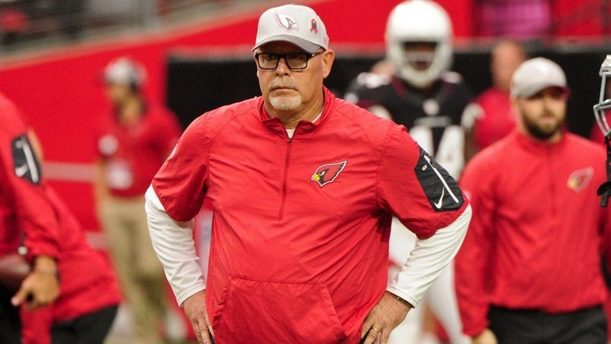 Oct 4, 2015; Glendale, AZ, USA; Arizona Cardinals head coach Bruce Arians looks on prior to the game against the St. Louis Rams at University of Phoenix Stadium. Mandatory Credit: Matt Kartozian-USA TODAY Sports