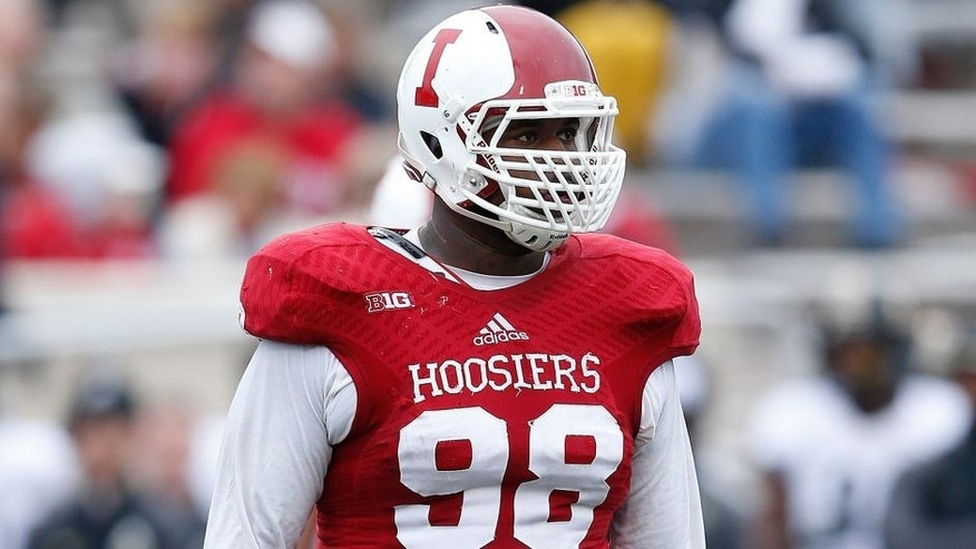 BLOOMINGTON, IN - NOVEMBER 29: Darius Latham #98 of the Indiana Hoosiers looks on against the Purdue Boilermakers during the game at Memorial Stadium on November 29, 2014 in Bloomington, Indiana. Indiana defeated Purdue 23-16. (Photo by Joe Robbins/Getty Images)