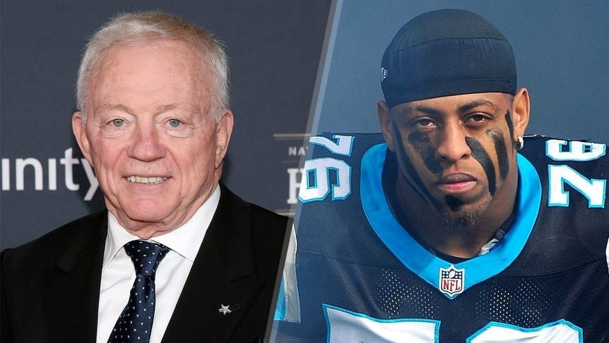 PHOENIX, AZ - JANUARY 31: Dallas Cowboys owner Jerry Jones attends the 2015 NFL Honors at Phoenix Convention Center on January 31, 2015 in Phoenix, Arizona. (Photo by Taylor Hill/Getty Images) CHARLOTTE, NC - DECEMBER 23: Greg Hardy #76 of the Carolina Panthers is introduced before a game against the Oakland Raiders at Bank of America Stadium on December 23, 2012 in Charlotte, North Carolina. Carolina defeated Oakland 17-6. (Photo by Grant Halverson/Getty Images)