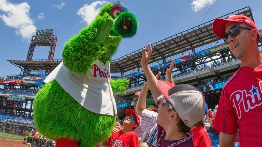 Jul 22, 2015; Philadelphia, PA, USA; The Phillie Phanatic greets fans during a game against the Tampa Bay Rays at Citizens Bank Park. The Phillies won 5-4 in the tenth inning. Mandatory Credit: Bill Streicher-USA TODAY Sports