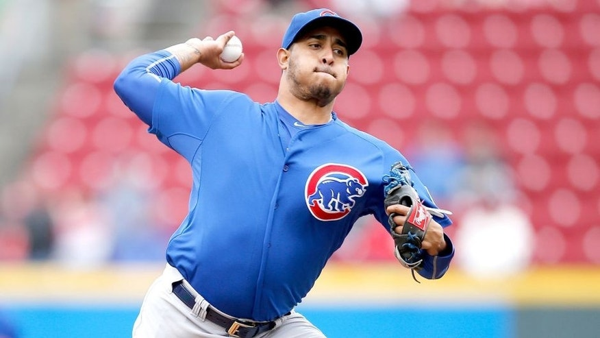 CINCINNATI, OH - OCTOBER 1: Hector Rondon #56 of the Chicago Cubs pitches against the Cincinnati Reds during a game at Great American Ball Park on October 1, 2015 in Cincinnati, Ohio. The Cubs defeated the Reds 5-3. (Photo by Joe Robbins/Getty Images)