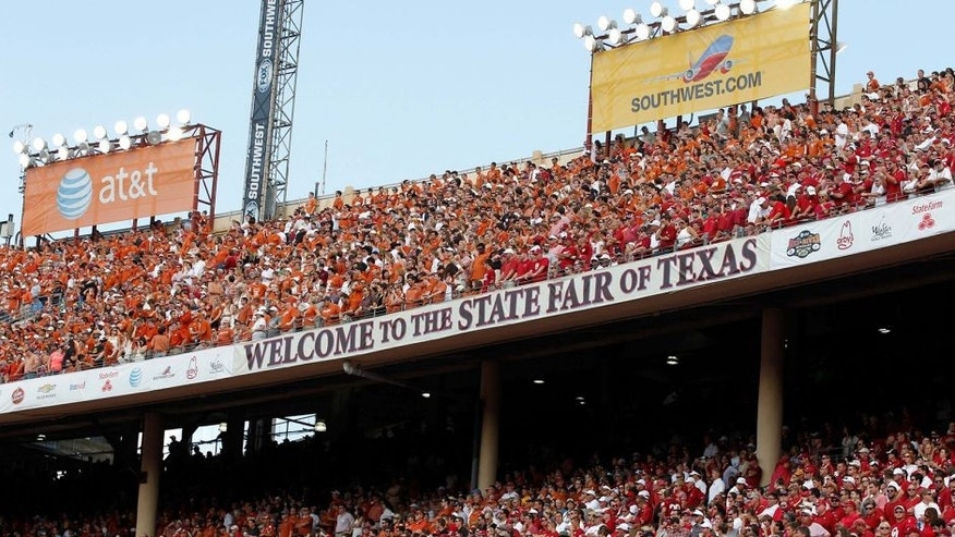 <p>Oct 12, 2013; Dallas, TX, USA; A general view of the stadium during the game between the Oklahoma Sooners and the Texas Longhorns at the Red River Rivalry at Cotton Bowl Stadium. The Texas Longhorns beat the Oklahoma Sooners 36-20. Mandatory Credit: Tim Heitman-USA TODAY Sports</p>
