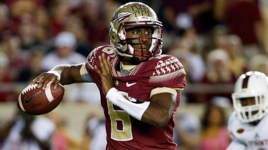 Oct 10, 2015; Tallahassee, FL, USA; Florida State quarterback Everett Golson (6) looks for a receiver against Miami at Doak Campbell Stadium. Mandatory Credit: Glenn Beil-USA TODAY Sports