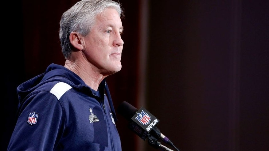 <p>JERSEY CITY, NJ - JANUARY 29: Pete Carroll, head coach of the Seattle Seahawks speaks to the media during an availability January 29, 2014 in Jersey City, New Jersey. The Denver Broncos and Seattle Seahawks will meet at Super Bowl XLVIII at Metlife Stadium on February 2, 2014.  </p>