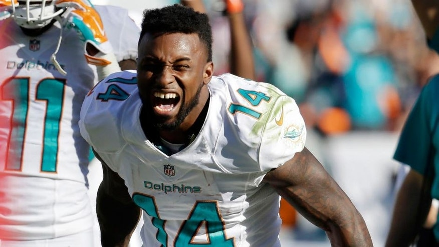 Miami Dolphins wide receiver Jarvis Landry (14) reacts after officials reversed a call and ruled that Landry scored a touchdown during the second half of an NFL football game against the San Diego Chargers, Sunday, Nov. 2, 2014, in Miami Gardens, Fla. (AP Photo/Lynne Sladky)