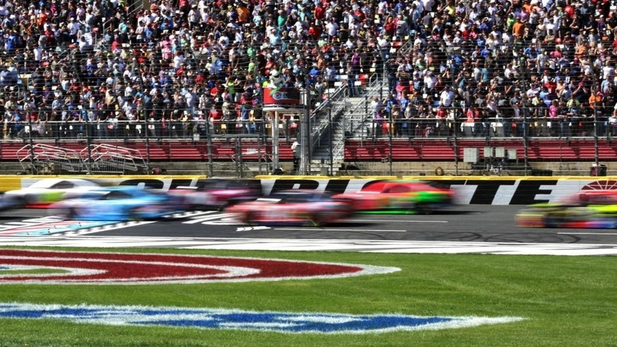 CHARLOTTE, NC - OCTOBER 11: A general view as cars race during the NASCAR Sprint Cup Series Bank of America 500 at Charlotte Motor Speedway on October 11, 2015 in Charlotte, North Carolina. (Photo by Jerry Markland/Getty Images)