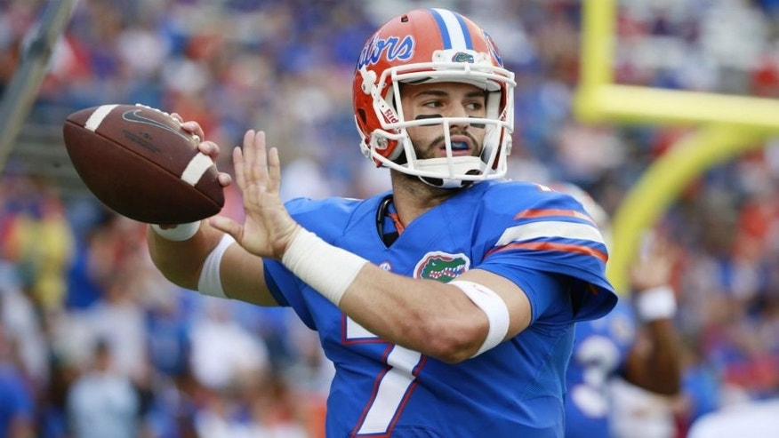 <p>Sep 5, 2015; Gainesville, FL, USA; Florida Gators quarterback Will Grier (7) works out prior to the game against the New Mexico State Aggies at Ben Hill Griffin Stadium. Mandatory Credit: Kim Klement-USA TODAY Sports</p>