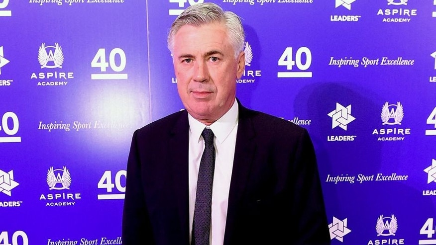 LONDON, ENGLAND - OCTOBER 06: Carlo Ancelotti poses for photographs during the Leaders Under 40 Awards at National History Museum on October 6, 2015 in London, England. (Photo by Tom Dulat/Getty Images).