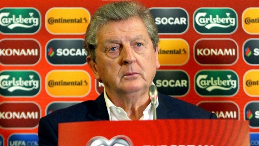 England's manager Roy Hodgson attends a press conference at The Novotel Hotel in Vilnius on October 11, 2015, on the eve of the UEFA Euro 2016 qualifying football match between Lithuania and England. AFP PHOTO / PETRAS MALUKAS (Photo credit should read PETRAS MALUKAS/AFP/Getty Images)