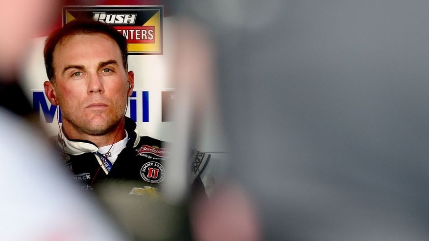 CHARLOTTE, NC - OCTOBER 08: Kevin Harvick, driver of the #4 Jimmy John's/Budweiser Chevrolet, sits in the garage area during practice for the NASCAR Sprint Cup Series Bank of America 500 at Charlotte Motor Speedway on October 8, 2015 in Charlotte, North Carolina. (Photo by Jared C. Tilton/NASCAR via Getty Images)