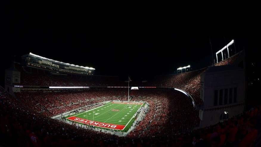 <p>Sep 6, 2014; Columbus, OH, USA; General view of Ohio Stadium during the third quarter during a NCAA Football game between the Virginia Tech Hokies an Ohio State Buckeyes. Mandatory Credit: Andrew Weber-USA TODAY Sports</p>