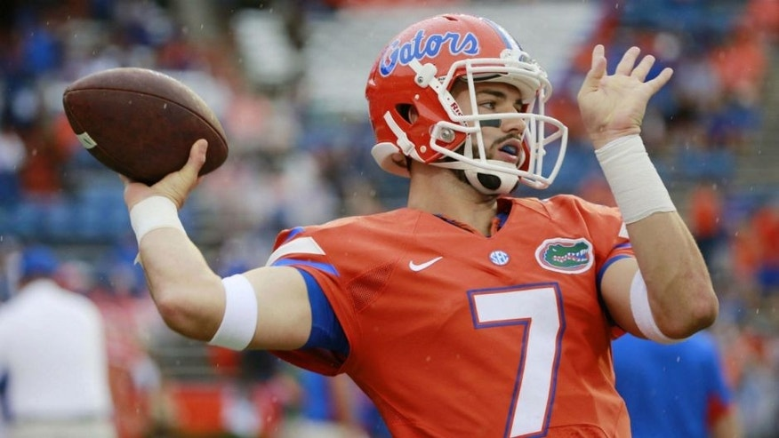 <p>Sep 12, 2015; Gainesville, FL, USA; Florida Gators quarterback Will Grier (7) works out prior to the game against the East Carolina Pirates at Ben Hill Griffin Stadium. Mandatory Credit: Kim Klement-USA TODAY Sports</p>