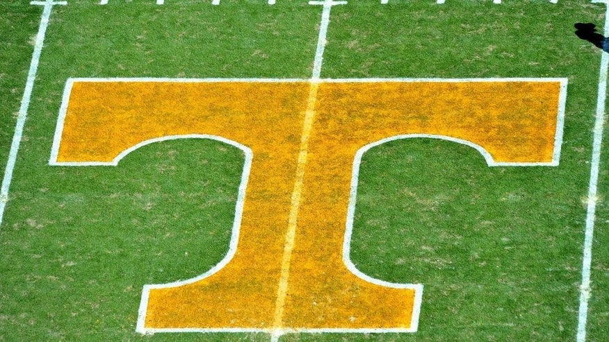 Nov 10, 2012; Knoxville, TN, USA; A general view of the Tennessee Volunteers logo on the field prior to the game against the Missouri Tigers at Neyland Stadium. Missouri defeated Tennessee 51-48 in quadruple overtime. Mandatory Credit: Jim Brown-USA TODAY Sports