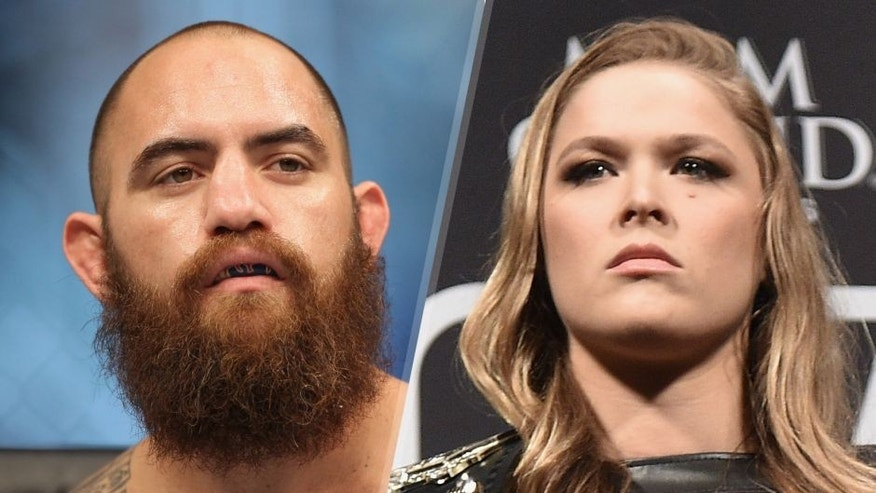 Travis Browne prepares to face Brendan Schaub in their heavyweight bout during the UFC 181 event inside the Mandalay Bay Events Center on December 6, 2014 in Las Vegas, Nevada. (Photo by Josh Hedges/Zuffa LLC/Zuffa LLC via Getty Images) UFC Women's Bantamweight Champion Ronda Rousey of the United States pose for the media during the 189 World Media Tour Launch press conference at Maracanazinho on March 20, 2015 in Rio de Janeiro, Brazil. (Photo by Buda Mendes/Zuffa LLC/Zuffa LLC via Getty Images)