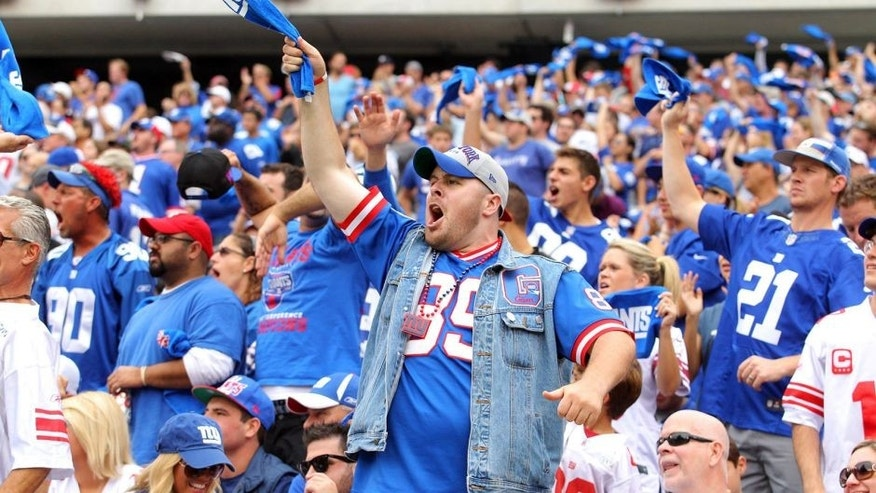 Sep 21, 2014; East Rutherford, NJ, USA; New York Giants fans react during the second quarter against the Houston Texans at MetLife Stadium. Mandatory Credit: Brad Penner-USA TODAY Sports