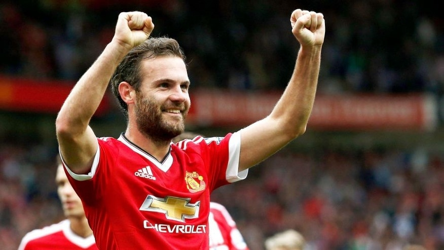 MANCHESTER, ENGLAND - SEPTEMBER 26: Juan Mata of Manchester United celebrates scoring his team's third goal during the Barclays Premier League match between Manchester United and Sunderland at Old Trafford on September 26, 2015 in Manchester, United Kingdom. (Photo by Dean Mouhtaropoulos/Getty Images)