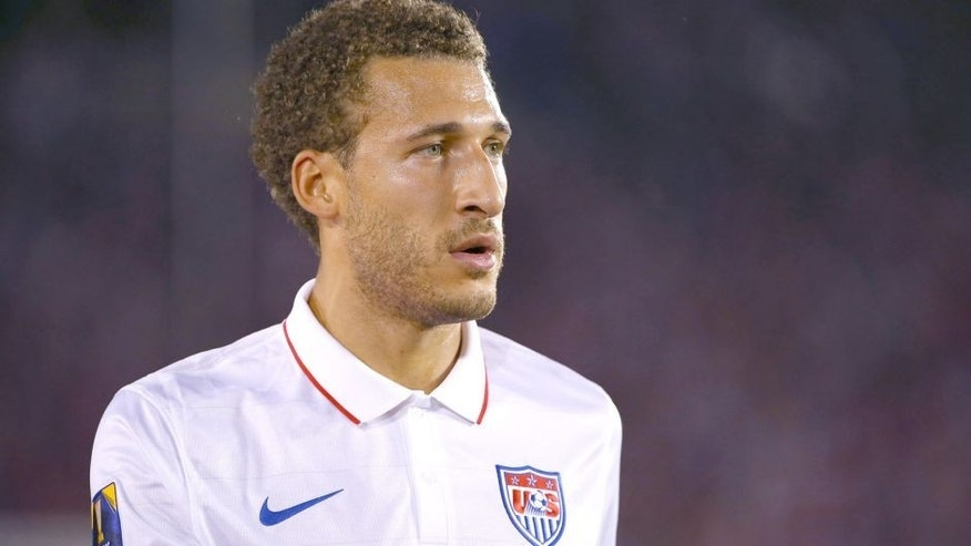 PASADENA, CA - OCTOBER 10: Fabian Johnson #23 of the United States looks on during a break in game action during the 2017 FIFA Confederations Cup Qualifying match against Mexico at Rose Bowl on October 10, 2015 in Pasadena, California. Mexico defeated the United States 3-2. (Photo by Victor Decolongon/Getty Images)