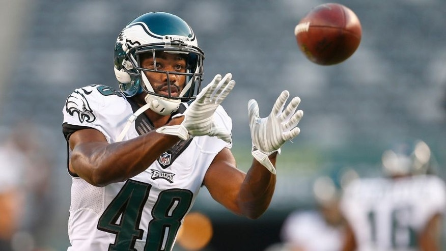 EAST RUTHERFORD, NJ - SEPTEMBER 03: Raheem Mostert #48 of the Philadelphia Eagles makes a catch before a pre-season game against the New York Jets at MetLife Stadium on September 3, 2015 in East Rutherford, New Jersey. (Photo by Rich Schultz /Getty Images)