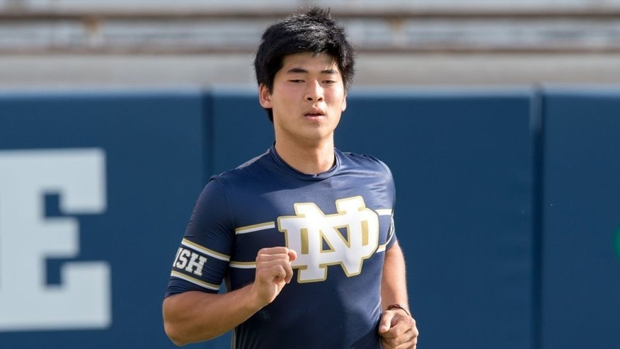 Sep 5, 2015; South Bend, IN, USA; Notre Dame Fighting Irish kicker Justin Yoon (19) warms up prior to the game against the Texas Longhorns at Notre Dame Stadium. Notre Dame won 38-3. Mandatory Credit: Matt Cashore-USA TODAY Sports
